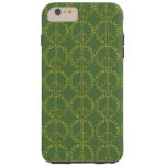 Green Peace sign with leaves Pattern Tough iPhone 6 Plus Case