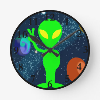 Green Peace Space Alien Round Wallclocks