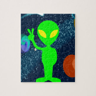 Green Peace Space Alien Jigsaw Puzzle