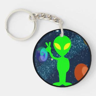 Green Peace Space Alien Keychain