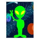 Green Peace Space Alien Postcard