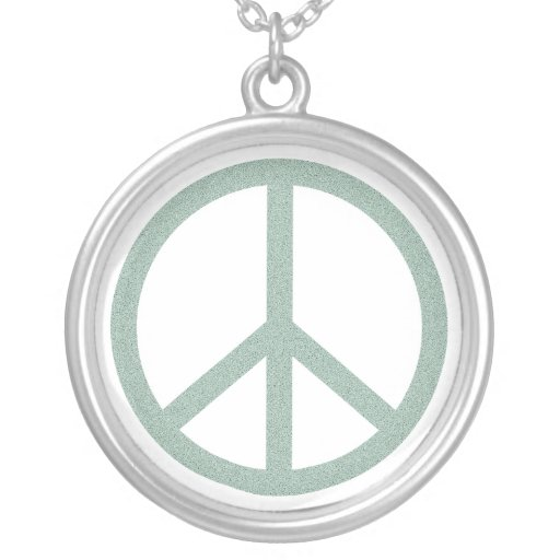 Green Peace Symbol - another version Round Pendant Necklace