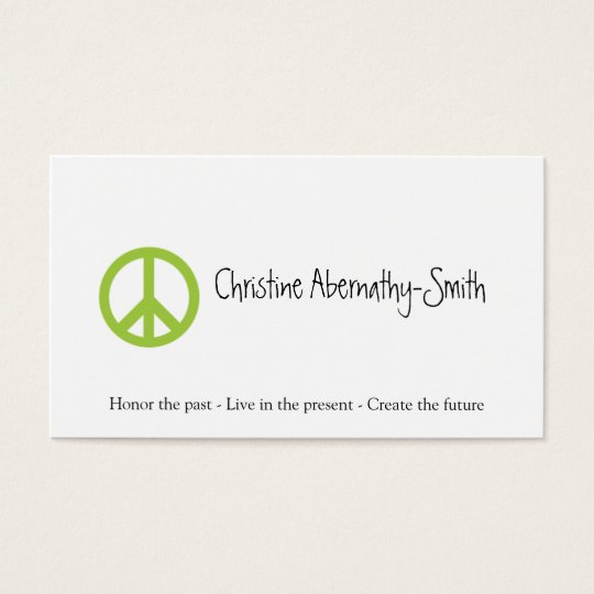 Green Peace Symbol Business Card