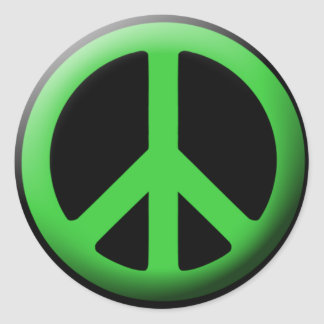 Green Peace Symbol Classic Round Sticker