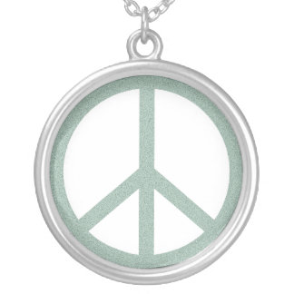 Green Peace Symbol Silver Plated Necklace