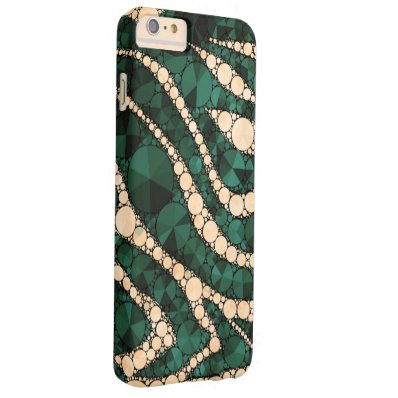 Green Peach Zebra Bling Barely There iPhone 6 Plus Case