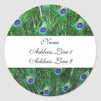 Green Peacock Address Labels
