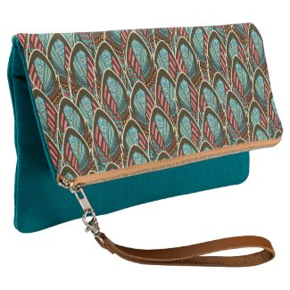 Green Peacock boho feather pattern Clutch