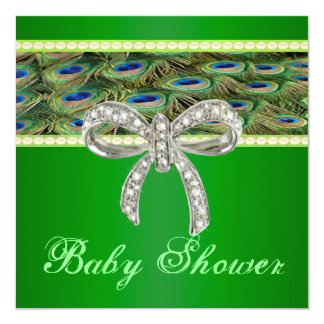 Green Peacock Diamond Bow Baby Shower Invitation