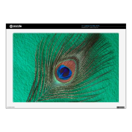 """Green Peacock Feather 17"""" Laptop Skins"""