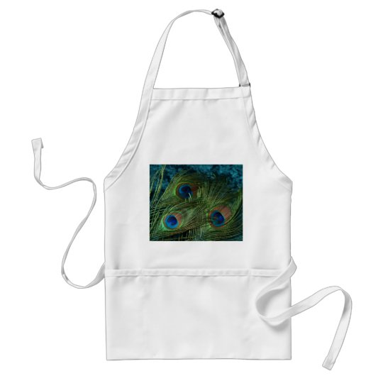 Green Peacock Feather Adult Apron