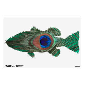 Green Peacock Feather Bass Wall Decal