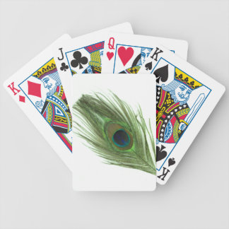 Green Peacock Feather Bicycle Playing Cards