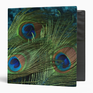Green Peacock Feather 3 Ring Binder