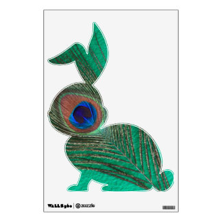 Green Peacock Feather Bunny Rabbit Wall Decal