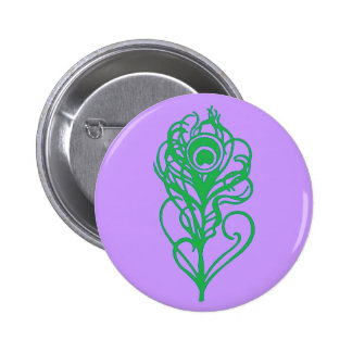 Green Peacock Feather Pinback Buttons