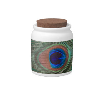 Green Peacock Feather Candy Jar