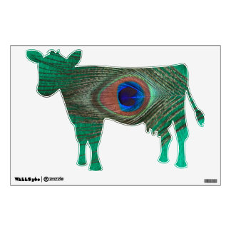 Green Peacock Feather Cow Wall Decal