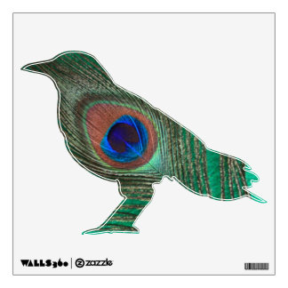 Green Peacock Feather Crow Wall Decal