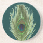 Green Peacock Feather D Coasters