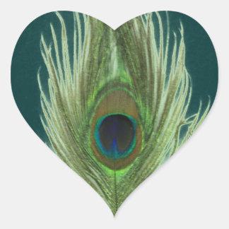 Green Peacock Feather D Heart Sticker