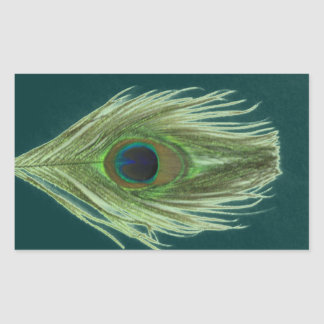 Green Peacock Feather D Rectangular Sticker