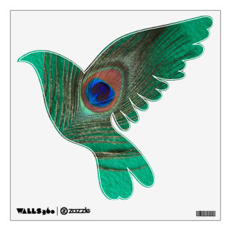 Green Peacock Feather Dove Wall Decal
