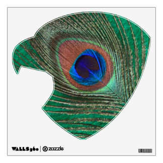Green Peacock Feather Eagle Head Wall Decal