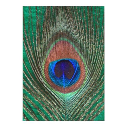 Green Peacock Feather Invitation