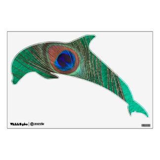 Green Peacock Feather Jumping Dolphin Wall Decal