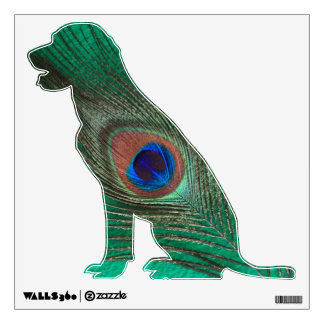 Green Peacock Feather Labrador Wall Decal