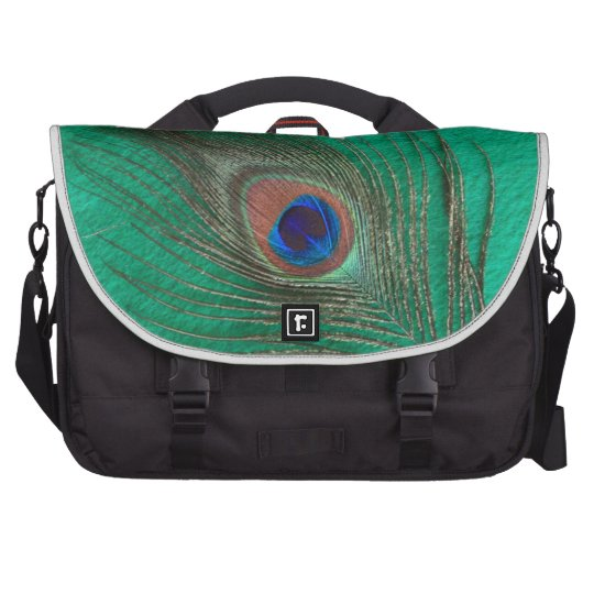 Green Peacock Feather Laptop Bags