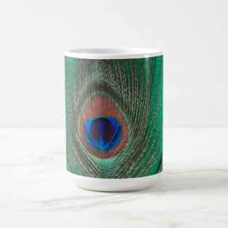 Green Peacock Feather Mug