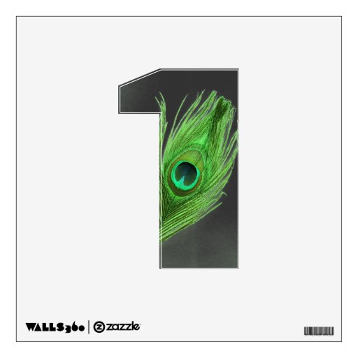 Green Peacock Feather on Black 1 Wall Decal
