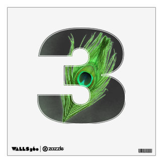 Green Peacock Feather on Black 3 Wall Decal