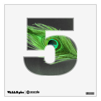 Green Peacock Feather on Black 5 Wall Decal