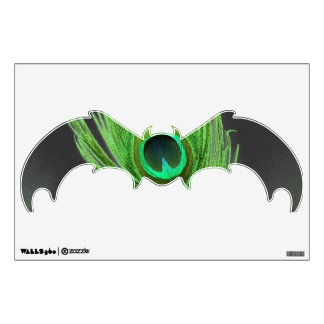 Green Peacock Feather on Black Bat Wall Decal