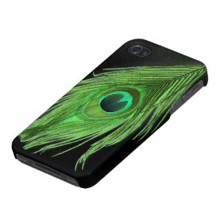 Green Peacock Feather on Black Case For iPhone 4