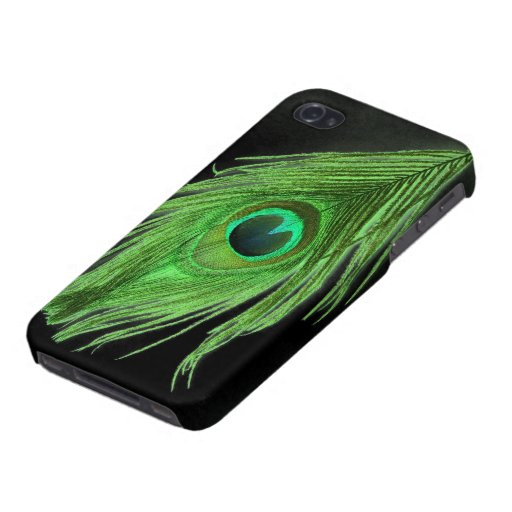 Green Peacock Feather on Black iPhone 4/4S Case