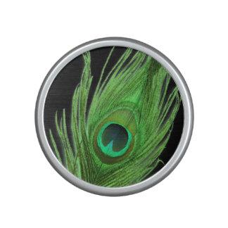 Green Peacock Feather on Black Speaker