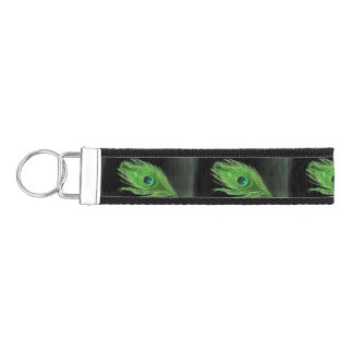 Green Peacock Feather on Black Wrist Keychain