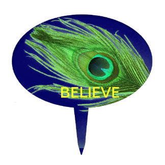Green Peacock Feather on Blue Believe Cake Topper