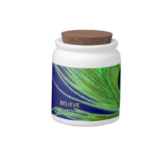 Green Peacock Feather on Blue Believe Candy Jar