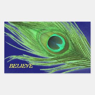 Green Peacock Feather on Blue Believe Rectangular Sticker