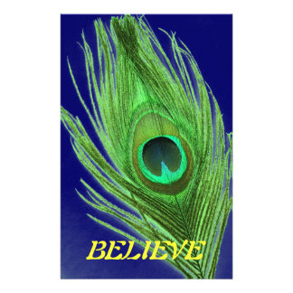Green Peacock Feather on Blue Believe Stationery