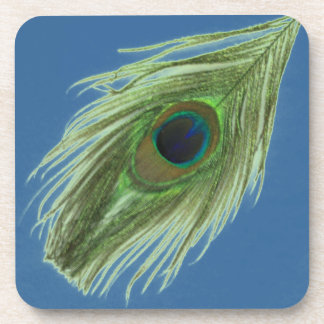 Green Peacock Feather on Blue Coaster