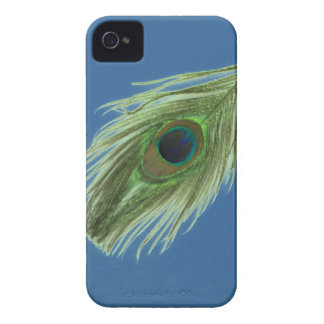 Green Peacock Feather on Blue iPhone 4 Barely iPhone 4 Cover
