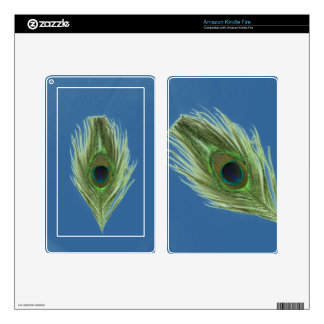 Green Peacock Feather on Blue Kindle Fire Decals