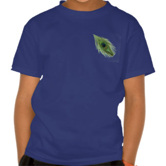 Green Peacock Feather on Blue Shirts