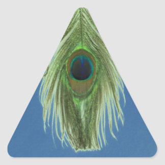 Green Peacock Feather on Blue Wall Decal Triangle Sticker